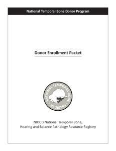 National Temporal Bone Donor Program Donor Enrollment Packet
