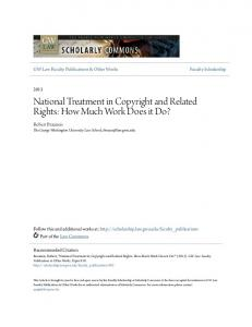 National Treatment in Copyright and Related Rights: How Much Work Does it Do?