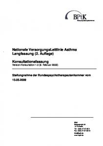 Nationale VersorgungsLeitlinie Asthma Langfassung (2. Auflage)