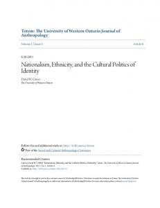 Nationalism, Ethnicity, and the Cultural Politics of Identity