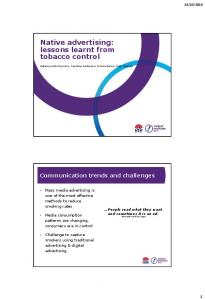 Native advertising: lessons learnt from tobacco control