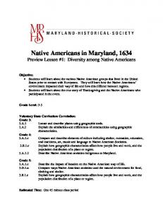 Native Americans in Maryland, 1634 Preview Lesson #1: Diversity among Native Americans