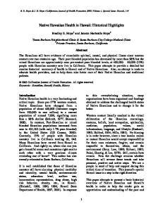 Native Hawaiian Health in Hawaii: Historical Highlights