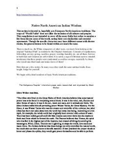 Native North American Indian Wisdom