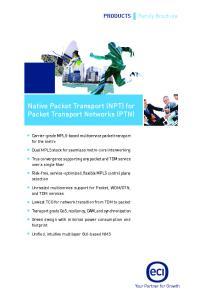 Native Packet Transport (NPT) for Packet Transport Networks (PTN)
