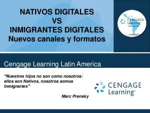 NATIVOS DIGITALES VS INMIGRANTES DIGITALES Nuevos canales y formatos