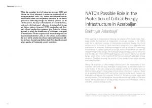 NATO s Possible Role in the Protection of Critical Energy Infrastructure in Azerbaijan