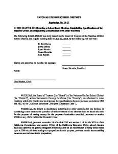 NATOMAS UNIFIED SCHOOL DISTRICT. Resolution No