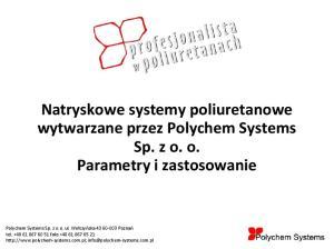 Natryskowe systemy poliuretanowe wytwarzane przez Polychem Systems Sp. z o. o. Parametry i zastosowanie