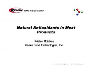 Natural Antioxidants in Meat Products
