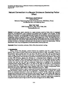 Natural Convection in a Square Enclosure Cooled by Peltier Effect