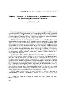 Natural Disasters: A Comparison of Alternative Methods for Evaluating Preventive Measures