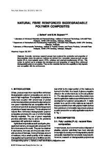 NATURAL FIBRE REINFORCED BIODEGRADABLE POLYMER COMPOSITES