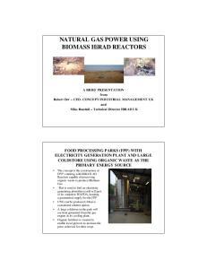 NATURAL GAS POWER USING BIOMASS HiRAD REACTORS