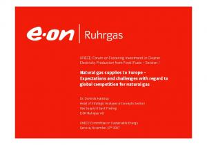 Natural gas supplies to Europe Expectations and challenges with regard to global competition for natural gas