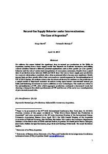 Natural Gas Supply Behavior under Interventionism: The Case of Argentina #