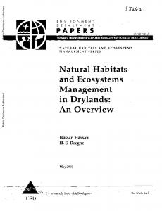 Natural Habitats and Ecosystems Management in Drylands: An Overview