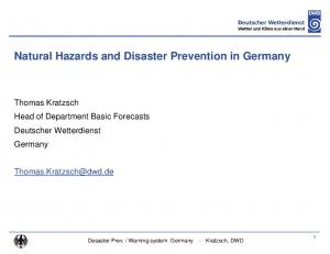 Natural Hazards and Disaster Prevention in Germany