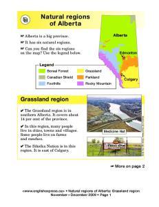 Natural regions of Alberta
