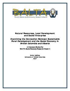 Natural Resources, Local Development and Social Enterprise