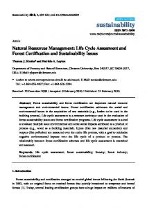 Natural Resources Management: Life Cycle Assessment and Forest Certification and Sustainability Issues