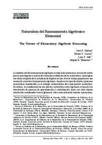 Naturaleza del Razonamiento Algebraico Elemental