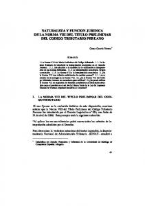 NATURALEZA Y FUNCION JURIDICA DE LA NORMA VIII DEL TITULO PRELIMINAR DEL CODIGO TRIBUTARIO PERUANO