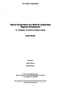 Nature Conservation as a Base for Sustainable Regional Development