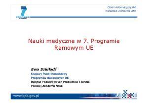 Nauki medyczne w 7. Programie Ramowym UE