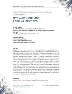 NAVIGATING CULTURES, FORMING IDENTITIES
