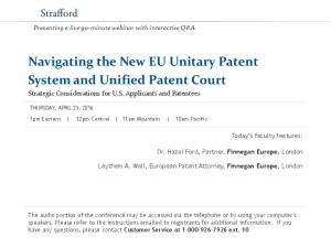 Navigating the New EU Unitary Patent System and Unified Patent Court