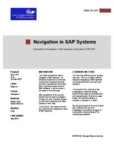 Navigation in SAP Systems