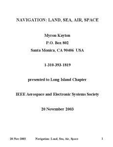 NAVIGATION: LAND, SEA, AIR, SPACE