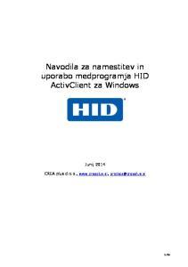 Navodila za namestitev in uporabo medprogramja HID ActivClient za Windows