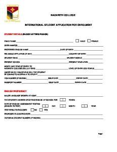 NAZARETH COLLEGE INTERNATIONAL STUDENT APPLICATION FOR ENROLMENT