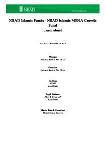 NBAD Islamic Funds - NBAD Islamic MENA Growth Fund Term sheet