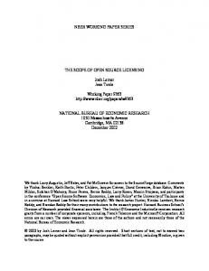NBER WORKING PAPER SERIES THE SCOPE OF OPEN SOURCE LICENSING. Josh Lerner Jean Tirole. Working Paper 9363