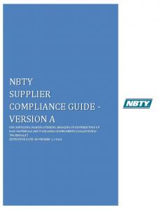 NBTY SUPPLIER COMPLIANCE GUIDE - VERSION A