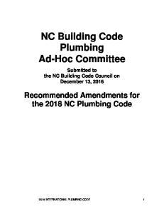 NC Building Code Plumbing Ad-Hoc Committee