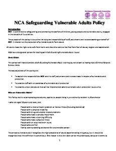 NCA Safeguarding Vulnerable Adults Policy