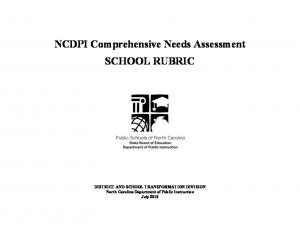 NCDPI Comprehensive Needs Assessment SCHOOL RUBRIC