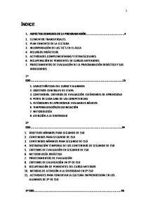 NDICE 1. ASPECTOS COMUNES DE LA PROGRAMACIÓN