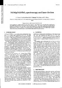 Nd:MgO:LiNbO 3 spectroscopy and laser devices