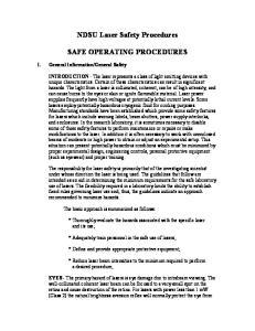 NDSU Laser Safety Procedures SAFE OPERATING PROCEDURES
