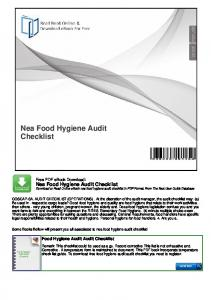 Nea Food Hygiene Audit Checklist