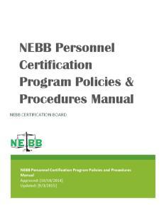 NEBB Personnel Certification Program Policies & Procedures Manual