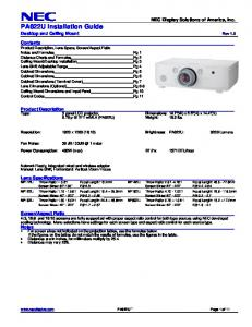 NEC Display Solutions of America, Inc. PA622U Installation Guide Desktop and Ceiling Mount Rev 1.0
