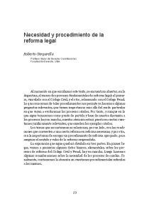 Necesidad y procedimiento de la reforma legal