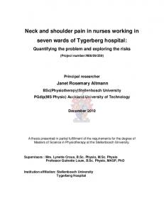 Neck and shoulder pain in nurses working in seven wards of Tygerberg hospital:
