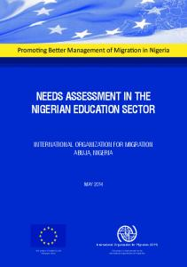 NEEDS ASSESSMENT IN THE NIGERIAN EDUCATION SECTOR